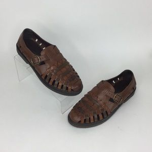 Stacy Adams brown leather woven sandal loafer